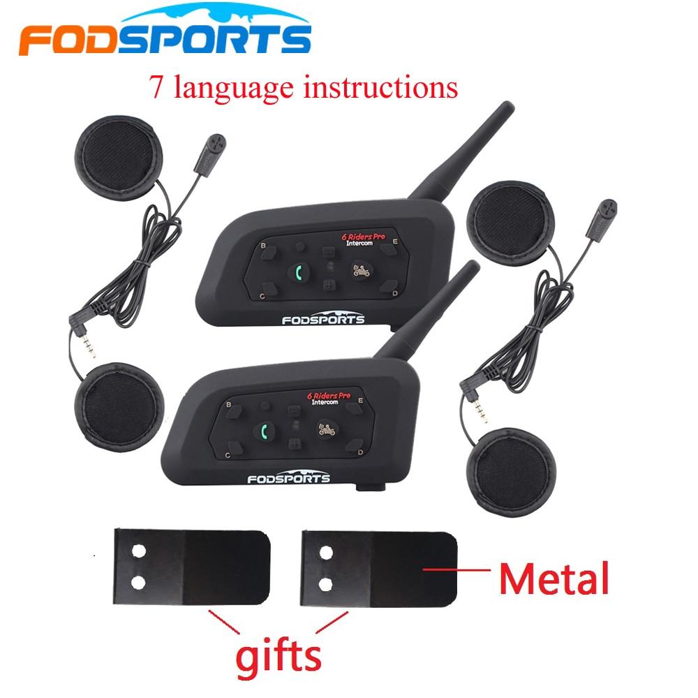 2PCS Fodsoprt V6 Pro Capacete Da Motocicleta Bluetooth Intercom Headsets para 6 pilotos BT Sem Fio intercomunicador Interfone MP3 GPS