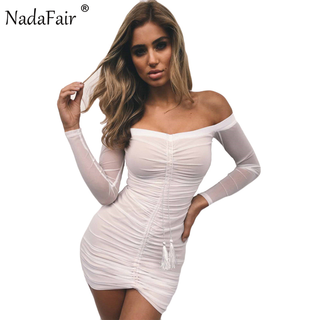 6e34dbf1a55 Nadafair Long Sleeve Off Shoulder Backless Ruched Sexy Club Bodycon Mesh  Party Dresses White Black