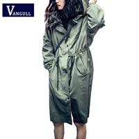 VANGULL Western Style Women Long Hoodies Autumn Coat Solid Zipper Button Adjustable Waist Slim Waist Casual
