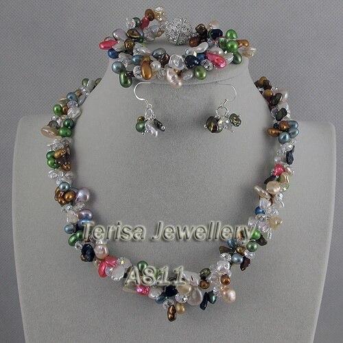 Nouvelle livraison gratuite ensemble de bijoux en perles de cristal de couleur blanche fabriqué avec des perles d'eau douce multicolores collier Bracelet boucles d'oreilles
