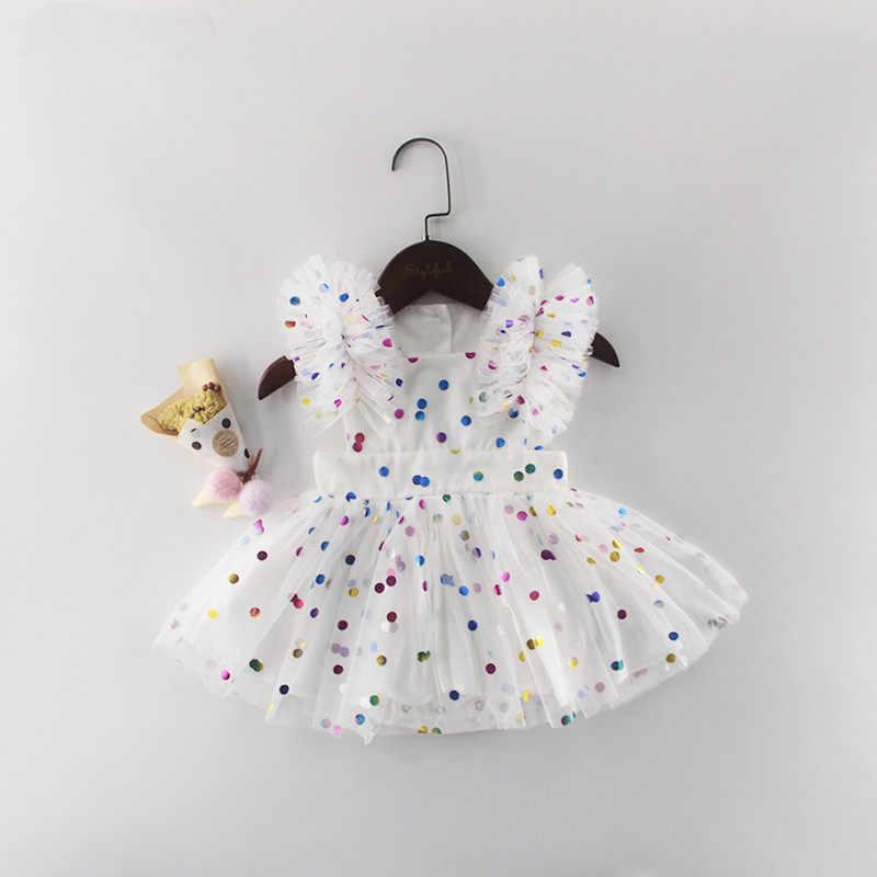 Bayi Gadis Gaun Musim Panas 2019 Bayi Baru Lahir Gaun Polka Dot Bayi Gadis Pakaian Pertama 1st Birthday Gaun untuk Bayi Perempuan putri Gaun