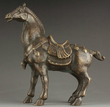 Superb China Collectable Handmade Carving Bronze Statue Realistic War Horse Healing Medicine Decoration 100% Brass