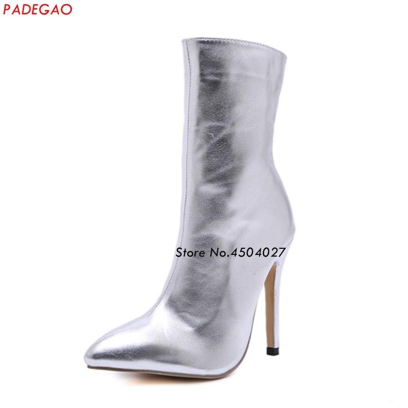 Bottines à fermeture éclair noires argentées classiques bottes à talons hauts femmes chaussures femme bout pointu Botas femme printemps automne bottes