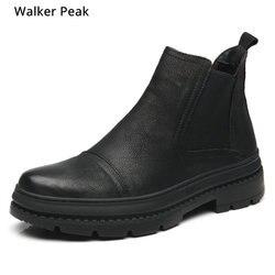 Mais tamanho 38-47 chelsea botas de inverno dos homens sapatos de couro genuíno preto sola grossa calçados masculinos quente pelúcia antiderrapante botas de neve