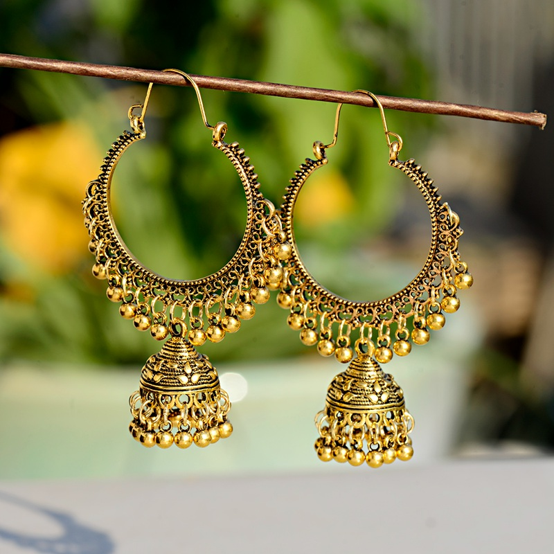 2019 Classic Women Big Round Silver Jhumka Jhumki Earrings Indian Jewelry Tribe Vintage Ethnic Bohemia Boho Bell Tassel Earrings in Drop Earrings from Jewelry Accessories