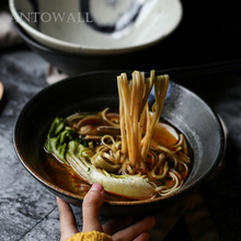 ANTOWALL Chinese style Ceramic tableware fruit pastry salad bowl restaurant ramen bowl big soup bowl classical cherry blossom ceramic bowl set with bamboo chopstick fruit salad rice soup ramen bowl water tea cup kitchen tableware