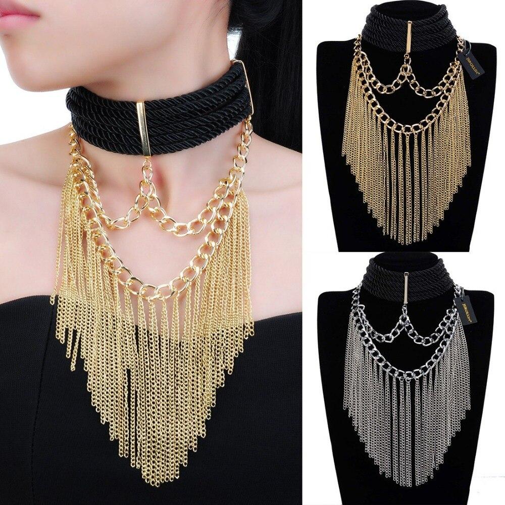 Leather Chain Statement Women Fashion Leopard Choker Chunky Pendant Bib Necklace