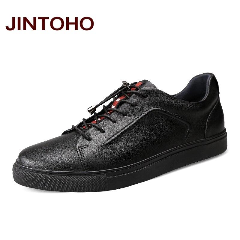 Jintoho большие размеры  черный обувь Элитный бренд Мужская обувь  натуральная кожа повседневная мужская обувь из натуральной кожи мужские  туфли на плоской ... b17665ed0e2