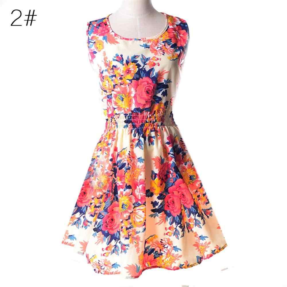 여름 여성 드레스 2019 빈티지 섹시 보헤미안 꽃 튜닉 비치 드레스 sundress 스트라이프 여성 파티 드레스