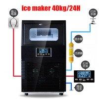 40 KG/24 H Máquina de Fazer Gelo Comercial Ice Maker Elétrica Household Rodada Teamilk Família Pequeno Bar Café Loja máquina de Fazer gelo|Máquina de gelo| |  -