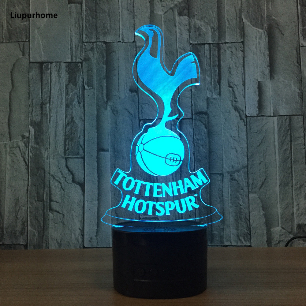 Tottenham Hotspur TTNM Night Light Football Club 3D Illusion Table Lamp 7 Color Changing Luminaria Touch Lights 3D02 led chelsea football club 3d lamp usb 7 color cool glowing base home decoration table lamp children bedroom night lights