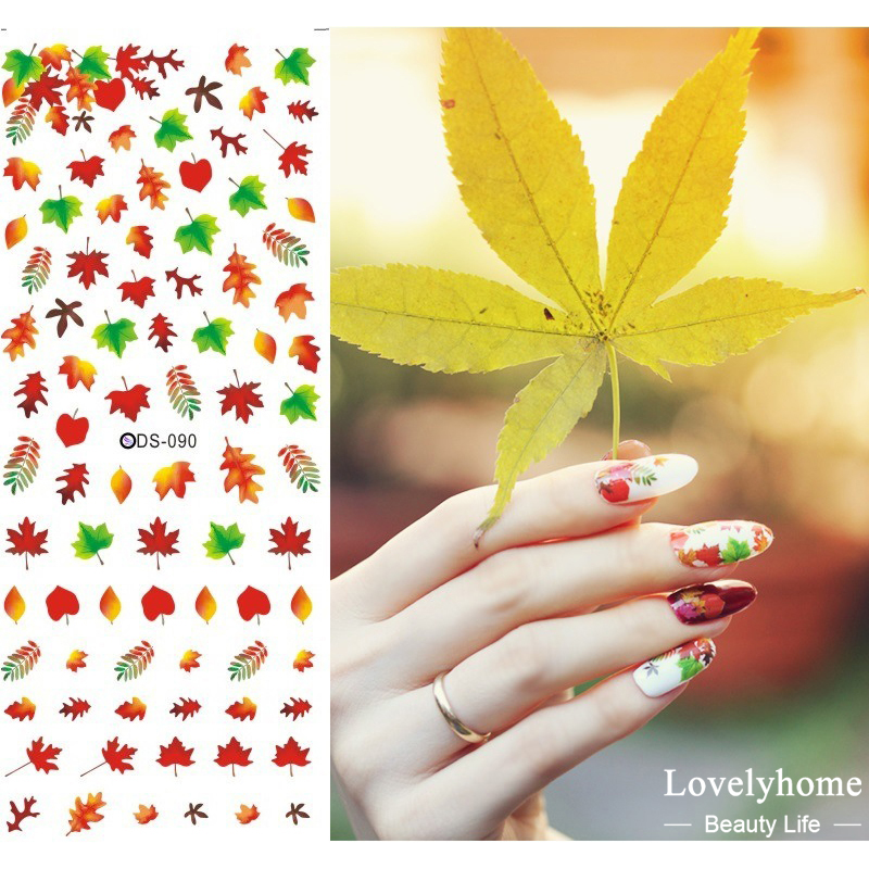 DS090 Nail Design Water Transfer Nails Art Sticker Sexy Colorful Maple Leaf Nail Wraps Sticker Tips Manicura nail supplies Decal 12 rolls mix color nail art sticker transfer foils decal dazzle colorful nails decoations set