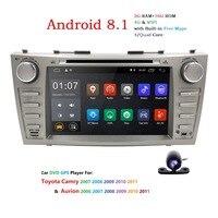 2 DIN Авторадио gps Android 8,1 Автомобильный мультимедийный DVD для Toyota Camry 2007 2008 2009 2010 2011 Aurion 2006 головное устройство Wi Fi 4G BT TV