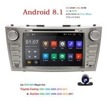 2 Din AutoRadio GPS Android 8.1 voiture DVD multimédia pour Toyota Camry 2007 2008 2009 2010 2011 Aurion 2006 unité principale Wifi 4G BT TV