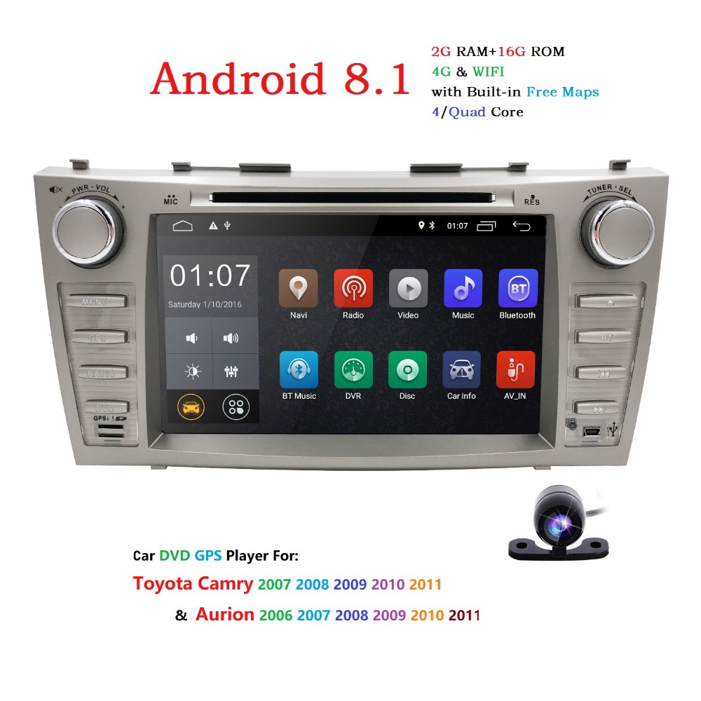 2 Din AutoRadio GPS Android 8.1 Car DVD Multimedia For Toyota Camry 2007 2008 2009 2010 2011 Aurion 2006 Head Unit Wifi 4G BT TV