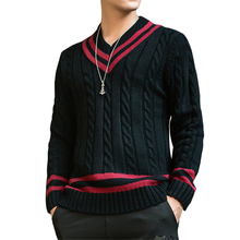 Preppy Style Autumn Fashion Brand Casual Sweater V-Neck Striped Thick Warm Slim Fit Knitting Mens Sweaters And Pullovers