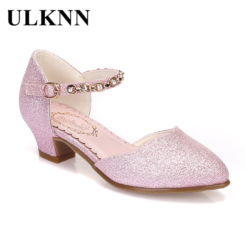 ULKNN Princess Girls Sandals Kids Shoes For Girls Dress Shoes Little High Heel Glitter Summer Party Wedding Sandal Children Shoe girls pearl beading rhinestone sandals princess square heel pointed toe dress shoes children wedding party formal shoes aa51329