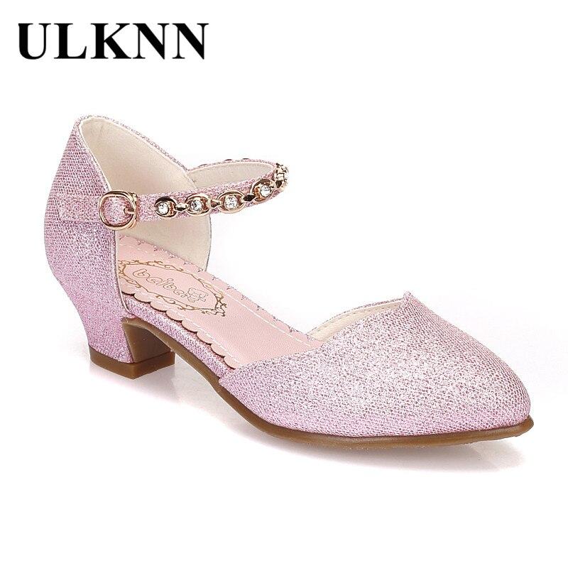Ulknn принцессы сандалии для девочек обувь для детей для Женская модельная обувь маленьких высокий каблук Блеск Для летних вечеринок Свадебные сандалии детская обувь