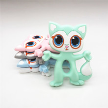 Chenkai 10PCS BPA Free Silicone Cat Fox Teether DIY Lovely Cartoon Chewing Pendant Baby Pacifier Dummy Sensory Animal Toy Gift