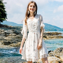 Wasteheart Summer White Women Dress Chiffon V Neck Holiday Sexy Plus Size Club Embroidery Dresses Beach Sundress Long