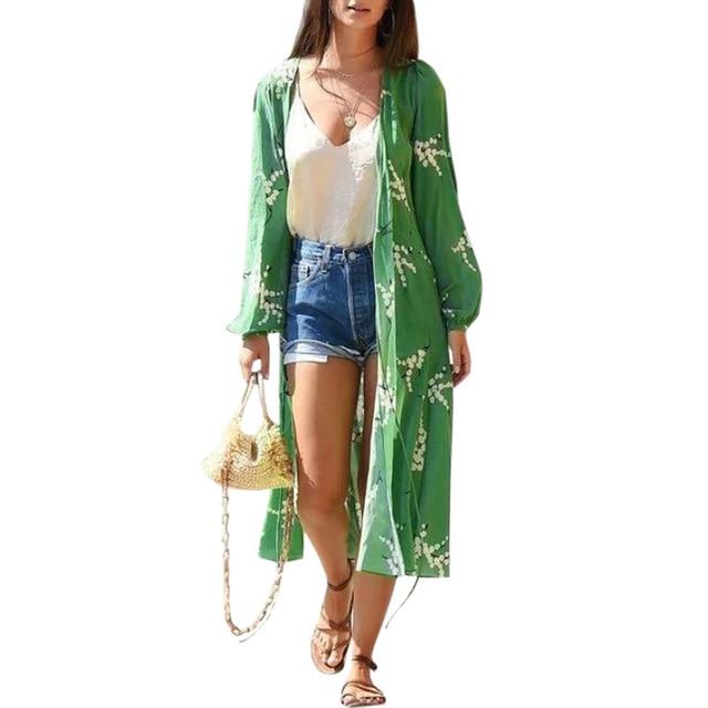 19beb07afff92 Women Chiffon Blouses Long Kimono Cardigan Floral Print Long Sleeve Shirts  Tie-Waist Loose Outerwear Cover Ups Tunic Tops Green