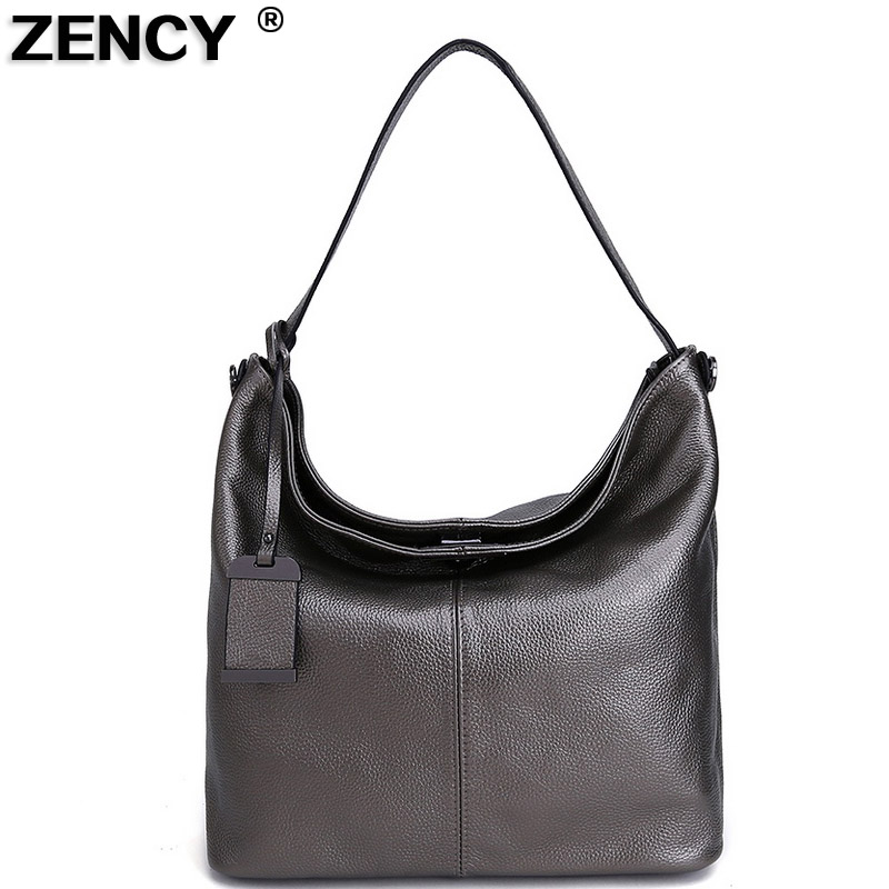 ZENCY Silver Gray Black 100 Genuine Cow Leather Handle Women Shoulder Bags Ladies Shopping Handbags Female