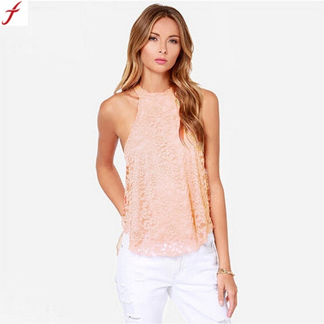 US $6 41 11% OFF|2018 New Blusas Femininas Casual Summer Tops Women Lace  Hanging Halter Round Neck Top Blouse Sleeveless Shirt Clothing#17-in  Blouses