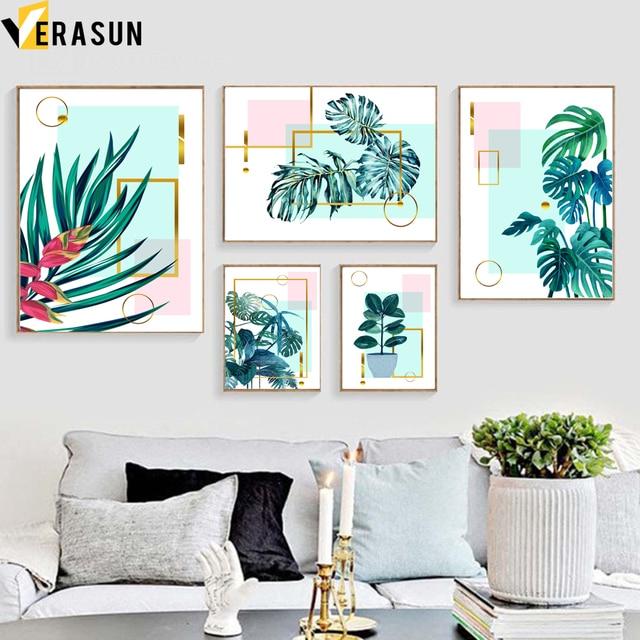 ירוק צמח Monstera עלים דקל גיאומטריה קיר אמנות בד ציור נורדי והדפסי קיר תמונות לסלון דקור