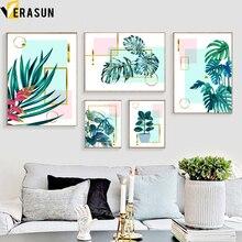 Planta verde monstera folhas de palma geometria parede arte da lona pintura nórdico cartazes e impressões fotos parede para sala estar decoração
