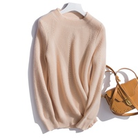 Осень и зима Новый 100% чистый кашемировый свитер женский полосатый свитер с длинными рукавами сплошной цвет высокий вырез кашемировый свите