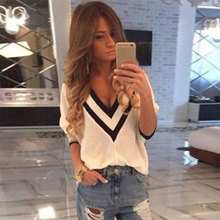 Women's Female New Arrival Lady Casual Deep V Chic Charming Good Selling Adorable Sexy Blouses White S/M/L/XL