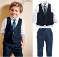 TZ340,2017 summer and autumn style baby boys clothes children t -shirt+ vest+pants+ tie cotton school clothing kids clothes sets