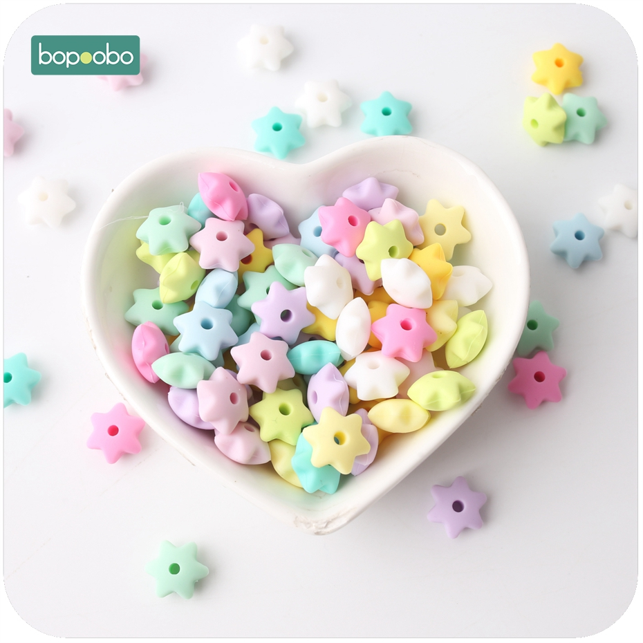 Bopoobo Silicone Beads Star Shape 20pcs 14mm Food Grade Teether BPA Free Ecofriendly Beads Bracelet DIY Jewelry Baby Teether