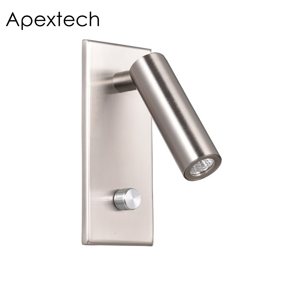 Apextech Dimmable LED Wall Lamp Bedroom Bedside Reading Lights Knob Dimmer Switch Recessed Wall Mounted Night Light For HotelApextech Dimmable LED Wall Lamp Bedroom Bedside Reading Lights Knob Dimmer Switch Recessed Wall Mounted Night Light For Hotel