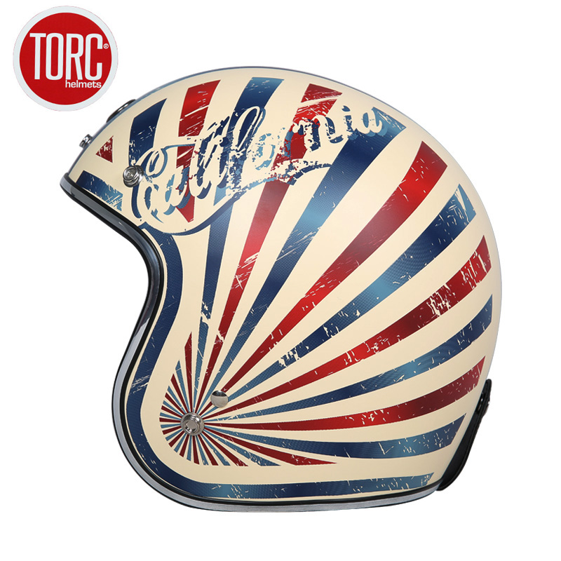 TORC Motorcycle Helmet Motorbike Vintage Open Face 3/4 Racing Helmet Motocross Jet Retro Capacete Casque Moto DOT Approved