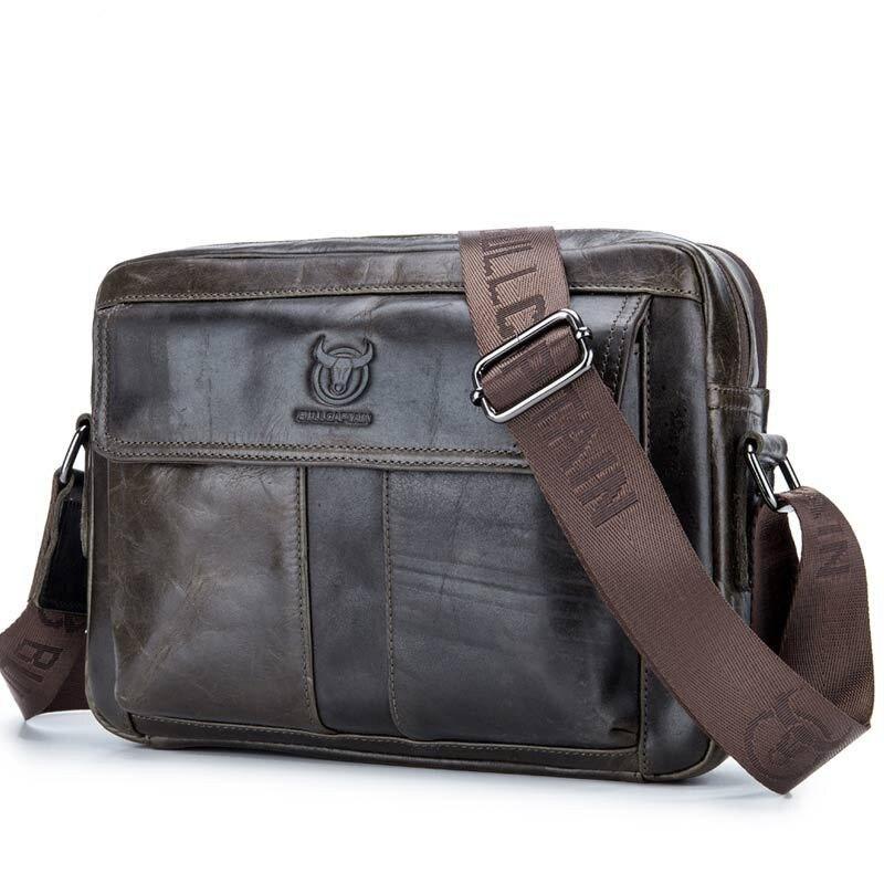 COOL Brand Natural Cowskin Men Messenger Bags Genuine Leather Shoulder Crossbody Bag Vintage Fashion Horizontal Men Bags
