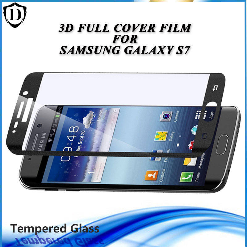 New Arrival 3D Tempered Glass For Samsung S7 Full Cover 4 Color Screen Protector Film with