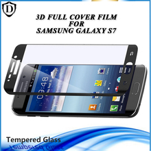 New Arrival 3D Tempered Glass For Samsung S7 Full Cover 4 Color Screen Protector Film with wooden box