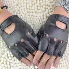 1 Pair Black PU Leather Fingerless Gloves Solid Female Half Finger Driving Women Fashion Punk #5