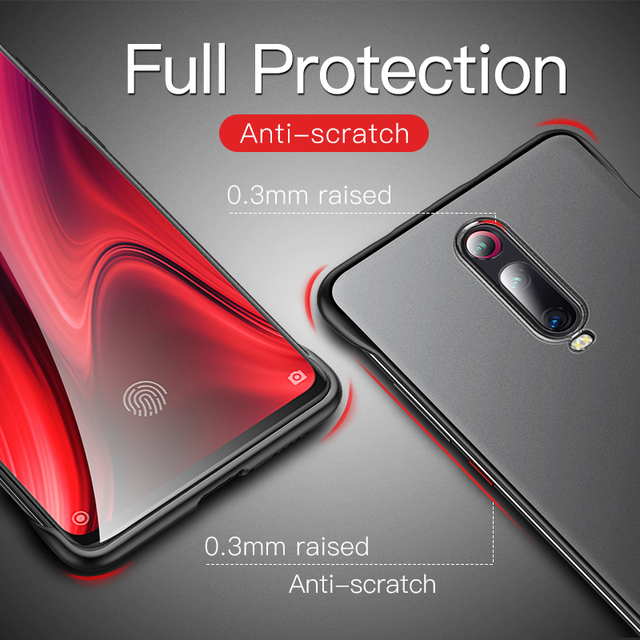 Redmi K20 Pro Frameless Frosted Luxury Shockproof Back Case Cover With Metal Ring