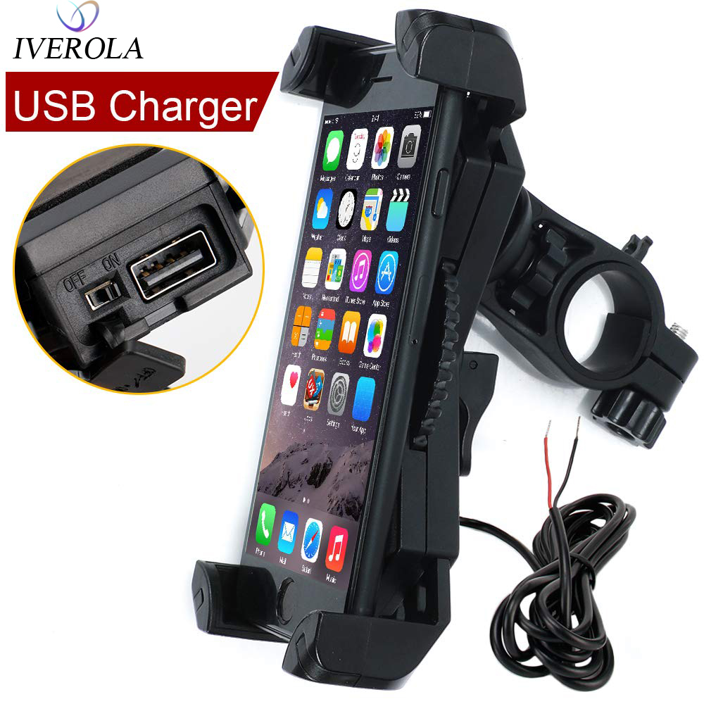 Univerola Motorcycle Phone Mount With Charger 5V 2.4A USB Port Install On Handlebar For  IPhone XR Xs  Cell Phone Holderl