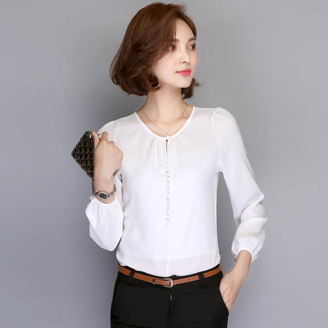d1a6bf2aa Plus Size Mulheres Blusas de Manga Comprida 2018 Primavera Camisa Blusa  Chiffon Solta Casuais Coreano Senhoras