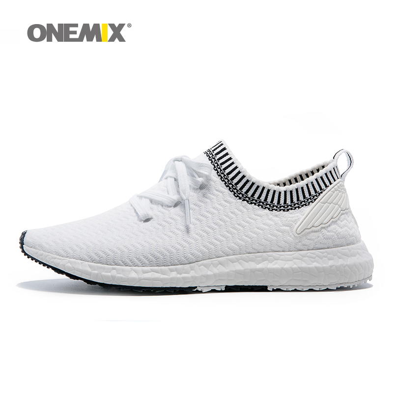 ONEMIX New Man Running Shoes For Men Athletic Trainers White Zapatillas Sports Shoe Outdoor Walking Sneakers Free Ship 2016 sale hard court medium b m running shoes new men sneakers man genuine outdoor sports flat run walking jogging trendy