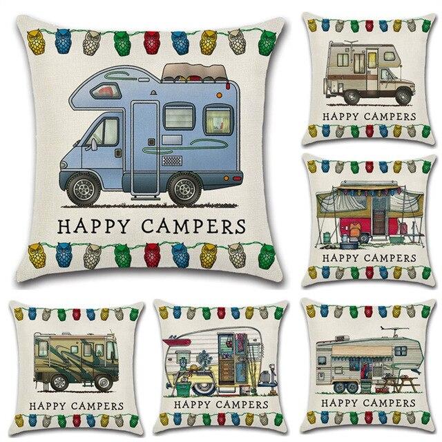 Happy Camper Auto Cuscino Cotone Lino Happy Camper Throw Pillow Case For Divano