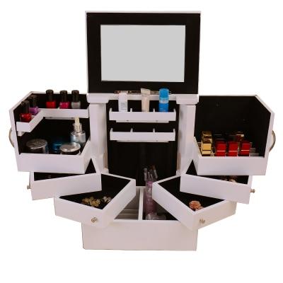 Super large Korean cosmetic storage box 90 degree rotating wooden makeup cabinet box Drawer type storage box with mirror