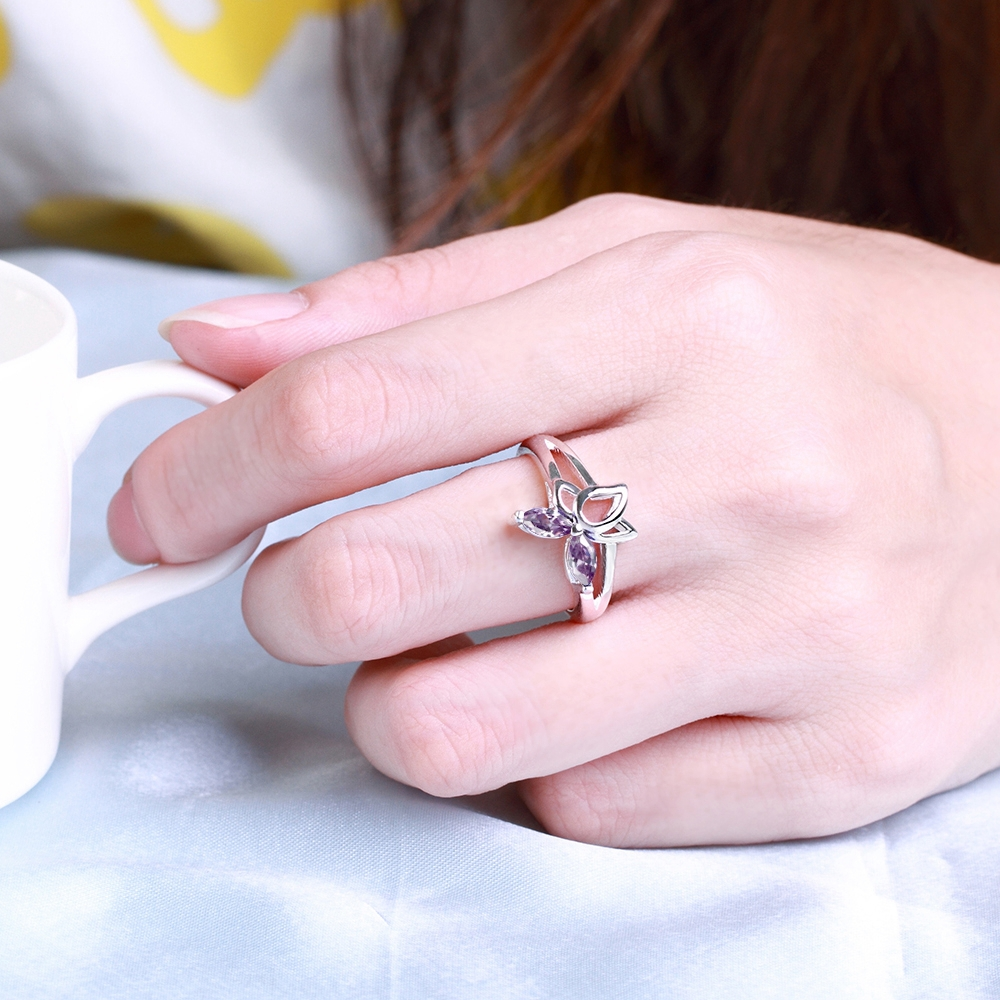 Silver Ring Designs For Girl Blue Purple and White Clear Zircon Ring ...