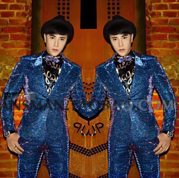 2020 Men's Singer Stage Magic Color Sao Blue Gradient Glitter Suit Costume DJ Costumes Suits Two-piece Suit