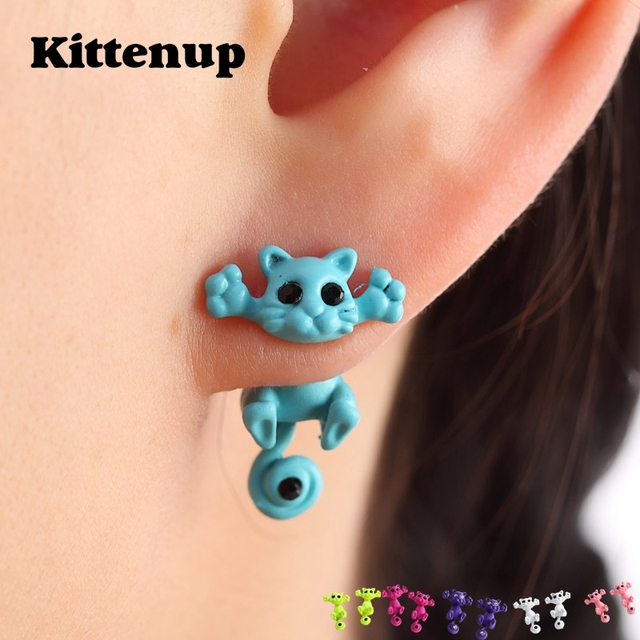 Kittenup New Multiple Color Classic Fashion Kitten Animal brincos Jewelry Cute Cat Stud Earrings For Women Girls Dropshipping 1