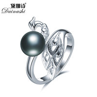 2018 Elegant Peacock Pearl Open Rings Freshwater Pearl Rings 925 Sterling Silver Ring For Women