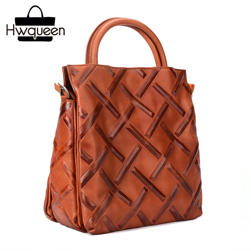Vintage Lattice Pattern Genuine Tanned Leather Lady Solid Handbag Zipper Closure Woman Large Shoulder Bag Cowskin Female TotesVintage Lattice Pattern Genuine Tanned Leather Lady Solid Handbag Zipper Closure Woman Large Shoulder Bag Cowskin Female Totes